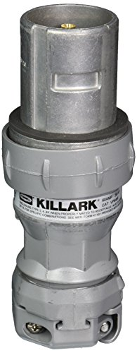 Killark VP6485 Pin and Sleeve Plug, 3 Wire, 4 Pole, 60 Amp, 600V, Copper-Free Aluminum