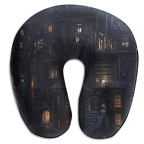 Laurel Neck Pillow Town Scenery Travel U-Shaped Pillow Soft Memory Neck Support for Train Airplane Sleeping -