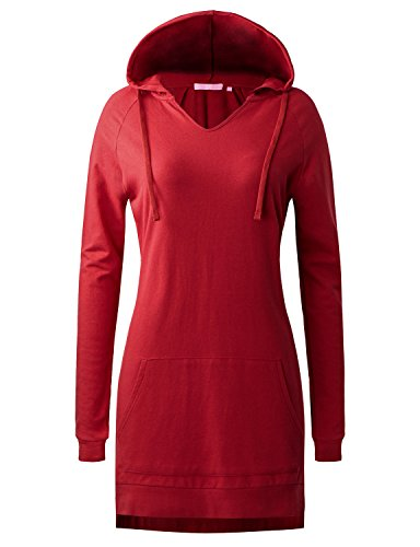 Regna X Love Coated for Women Long Sleeve Casual v-Neck Hoodie Dress Red -