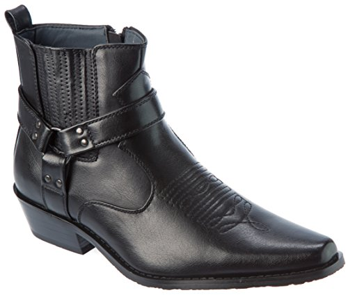 Alberto Fellini Western Style Boots New Upgrade PU-Leather Cowboy Black Size 10 by Alberto Fellini