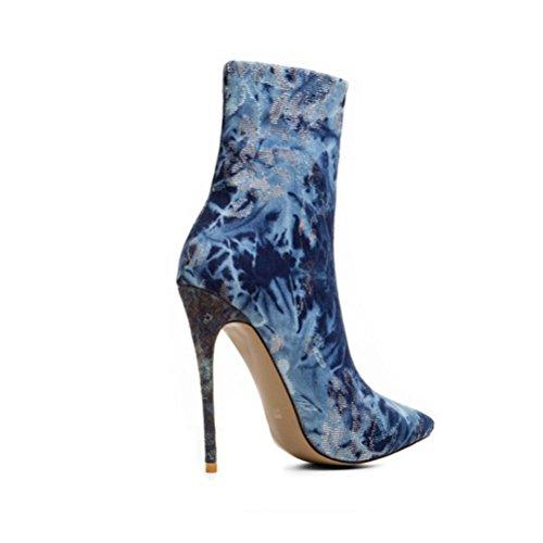 talón dril señalaron Talones botas blue de QPYC de Las algodón lateral Botas mujeres de gran femeninos romanas del alto de señoras tamaño cremallera las tacón fino qYAanpq