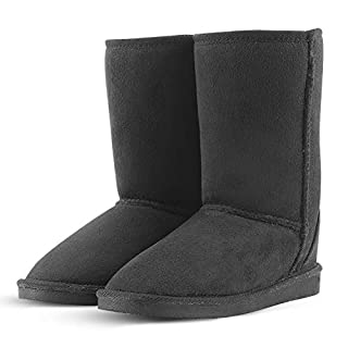 KushyShoo Women's Fully Fur Lined Water Resistant Winter Snow Spring Boots Black 8