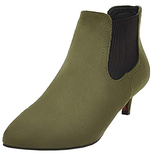 NIGHTCHERRY Women Fashion Mid Heel Chelsea Boots Pull On Green