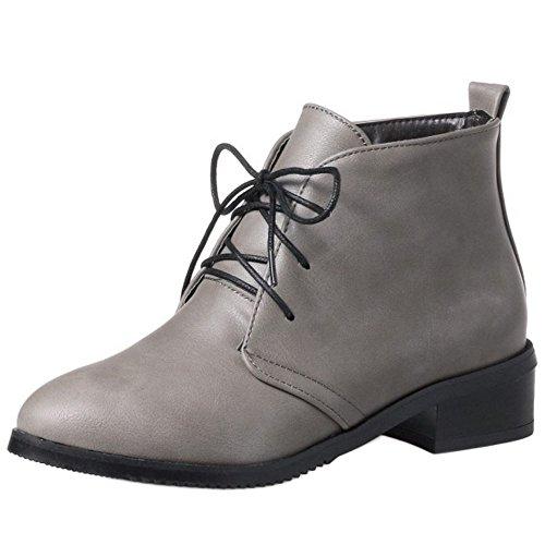 COOLCEPT Women Fashion Lace Up Low Flats Ankle Biker Boots School Shoes Grey