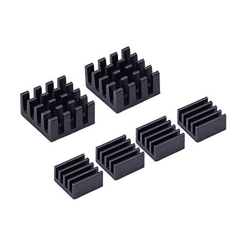 Mudder 6 Stück schwarze Aluminium Kühlkörper Kühler Kit für Raspberry Pi 3, Pi 2, Pi Modell B +