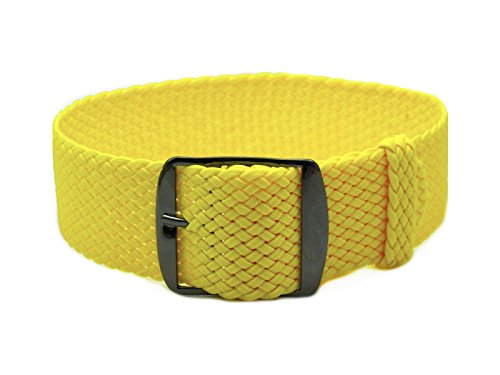 HNS 20mm Yellow Perlon Tropic Braided Woven Watch Strap with PVD Buckle
