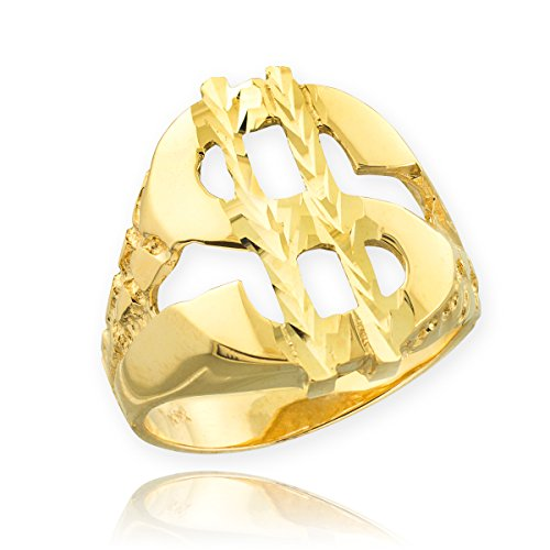 Men's 14k Yellow Gold Lucky Nugget Band Dollar Sign Ring (Size (14k Gold Dollar Sign)