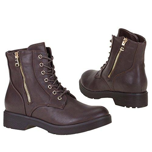 Ital-Design - Botas plisadas Mujer Marrón - marrón oscuro