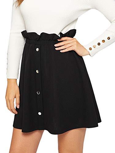 SheIn Women's Button Front Ruffle Trim Elastic Waist Stretchy Solid A-line Mini Skirt X-Small Black