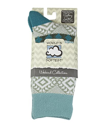 World's Softest Socks Weekend Collection Gallery Crew-Various Colors (Sweet Pea (Turquoise)) One Size