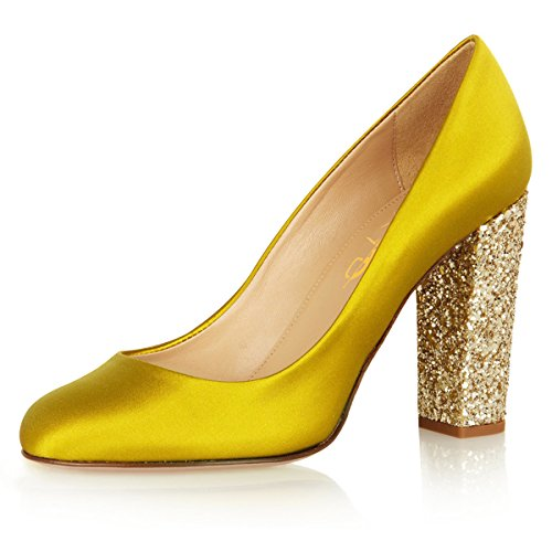 Xyd Donne Moda Glitter Tacco Grosso Pompe A Punta Tonda Slip On Wedding Party Dress Shoes Yellow