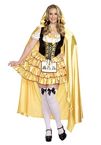 Dreamgirl Women's Plus-Size Goldilocks Fairytale Costume, Gold/Black, 3X/4X -