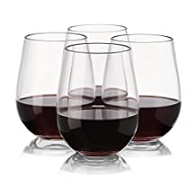 Plastic Wine Glasses - Set of 4 Red White Wine Stemless Glass - Unbreakable - Reusable - Shatterproof - 16oz 450ml - Glasses for Parties, Weddings, Camping - Better than Polycarbonate Glasses - NOTMOG