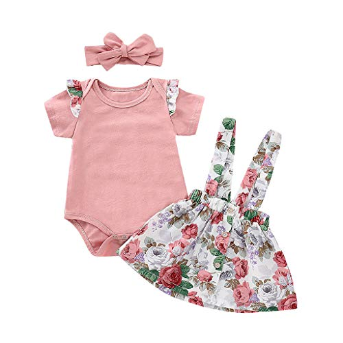 - YoumymineInfant Baby Girls Short Sleeve Solid Romper Jumpsuit Floral Print Overalls Skirts+Headband Outfits Set (12-18 Months, Pink)