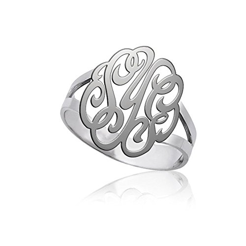Custom Monogram Ring Sterling Silver Monogram Full Name Ring - Custom Made Jewelry with your Personal Initials (Personal Monogram)