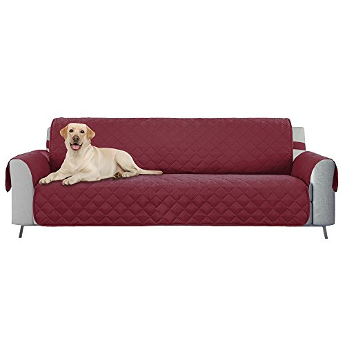 "E-Living Store Reversible Oversized Sofa/Couch Furniture Protector with 2 Inch Elastic Strap, Machine Washable, Perfect for Pet and Kids, Seat Width Up to 78"" - Cranberry"