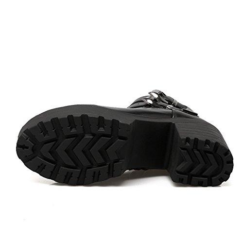 Balamasa Mujeres Pull-on Ruedas Zapatos De Tacón Tuxedo Zapatos Botas De Cuero Imitados Negro