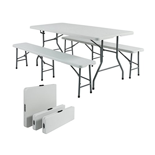Portable 6ft Folding Table & Benches Indoor Outdoor Picnic Party Home Kitchen Dining White Resin Furniture Set - Half Singapore Frame Glasses