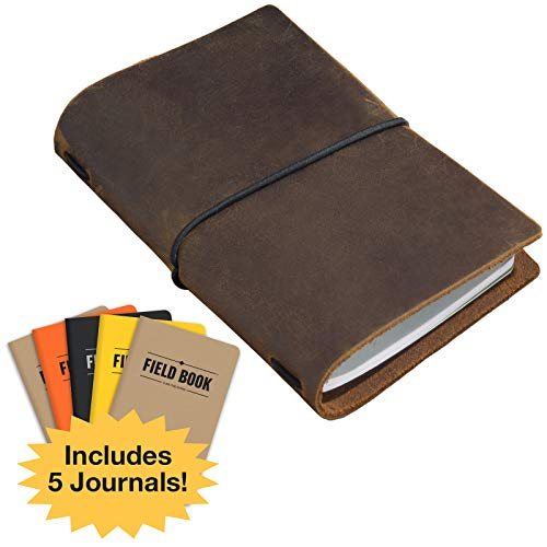 46668950f9c6b Handcrafted Top Grain Leather Journal Notebook Cover: Includes 5 ...