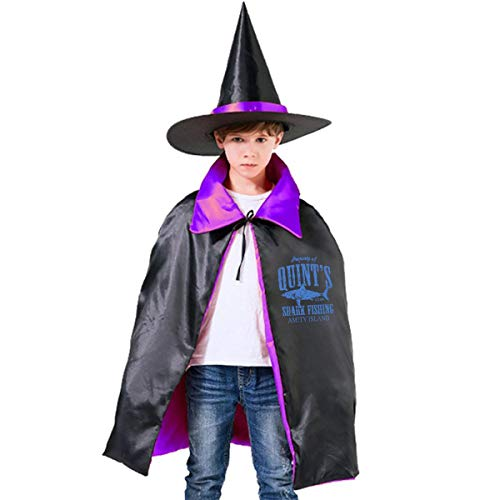 Kids Quints Shark Fishing Amity Island Halloween Party Costumes Wizard Hat Cape Cloak Pointed Cap Grils Boys -