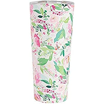 Charlotte Floral Large 24 Ounce Stainless Steel Double Wall Tumbler with Lid