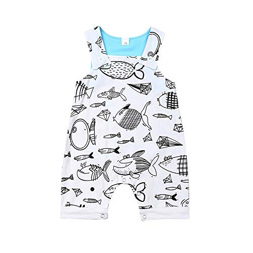 Guyay Infant Unisex Baby Fish Print Romper Sleeveless One-Piece Coverall Jumpsuit Bodysuit Playsuit Outfit (White, 0-6 - Romper Fish