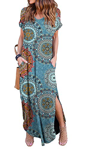 GRECERELLE Women's Casual Loose Long Dress Short Sleeve Floral Print Maxi Dresses with Pockets Mix Blue-XL