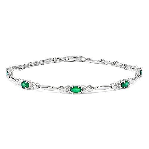 Argent Sterling avec émeraude et diamants JewelryWeb Bracelet