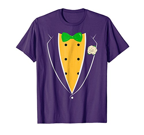 Purple Tuxedo With Green Bow tie Funny Novelty T Shirt -