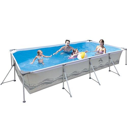 Jilong-6920388627030-Stahlrahmenbecken-Set-rechteckiger-Pool-mit-Kartuschen-Filterpumpe-300-x-207-x-70-cm-Pasaat-grau