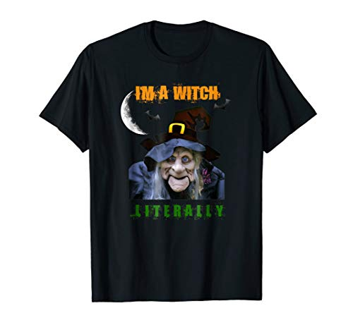 Funny Halloween Tshirt With Scary Witch Moon Bats