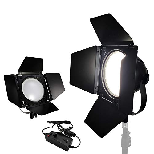LimoStudio 2-Pack Video Studio Dimmable LED Barndoor Continuous Light Kit with Carry Case, Neutral Day Light Tone 5500K, Photo Studio, AGG2545 by LimoStudio