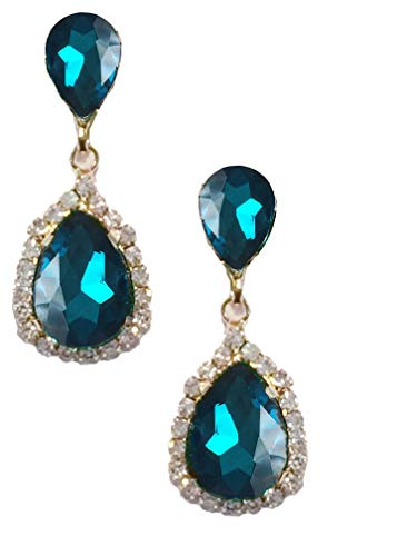 Gold Tone Antique Vintage Retro Deco Gatsby Flapper Style Peacock Aqua Blue Zircon Rhinestone Pear Wedding Bridal Earrings