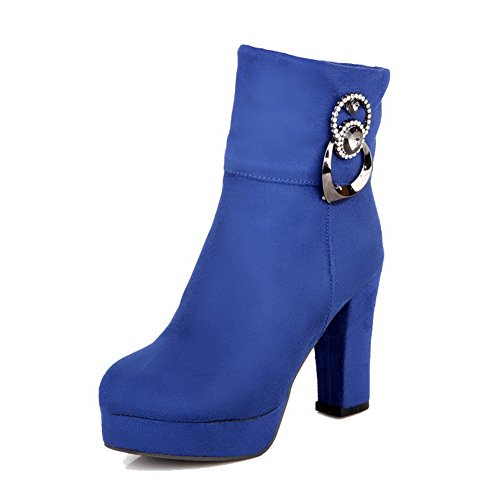 AgooLar Women's Solid High Heels Round Closed Toe Imitated Suede Zipper Boots Blue