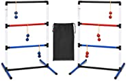 GYMAX Ladder Toss Game Set, Outdoor/Indoor Game Set with 6 PE Bolas, Travel Carrying Bag and Built-in Score Tr