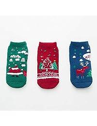 Children's Christmas Socks, Kids Boys Girls Winter Terry Socks 3 Pairs (Color : Multicolor 02, Size : 9-12 Years)