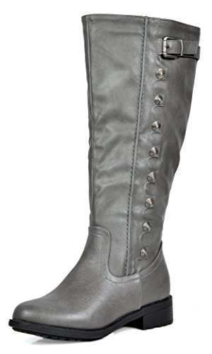 Low Knee Round Army Available calf PAIRS Toe Boots Accent wide Riding grey Stacked DREAM Wide Calf Buckles Double UTAH Heel High Women's Zipper Quilted 6qwSvq