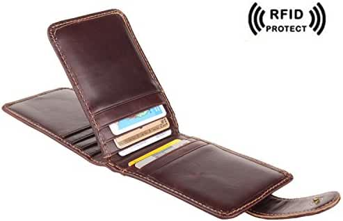 Texbo Genuine Waxy Leather Business Credit ID Cards Case Wallet