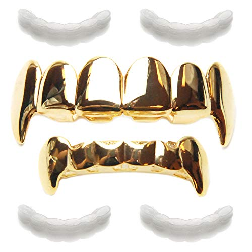 - METALTREE98 Vampire Grillz Set 4pc Fixing bar Fangs Gold Plated Top & Bottom Teeth Dracula LS 020 G