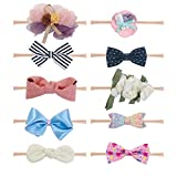 Fancy Clouds Baby Girl Headbands,10 Pack Hair Accessories Bow Flower for Newborn Infant Toddler (0901 set)