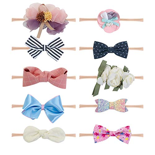 Fancy Clouds Baby Girl Headbands Bows,10 Pack Hair Flowers Accessories for Newborn Infant Toddler Gift (flower)