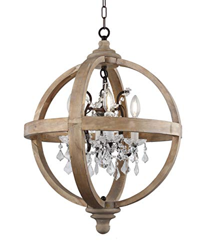 - Deluxe Lamp Farmhouse 4 Light Candle Style Wood Globe Frame Clear Glass Crystals in Withered Brown Wood Metal Finish Chandelier Antique Metal Crystal Inside