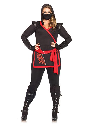(Leg Avenue Women's Plus-Size 4 Piece Ninja Assassin Costume, Black/Red,)