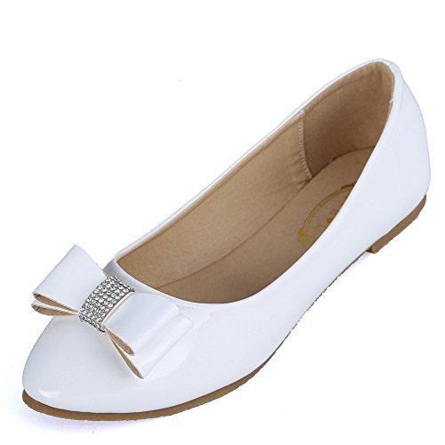 AalarDom Mujer Sin cordones Material Suave Sólido Plano Blanco-Joyas