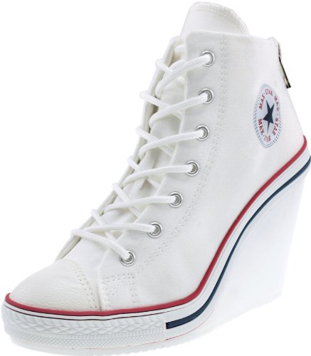 Maxstar Women's 777 Back Zipper Canvas High Wedge Heel Sneakers White 6 B(M) US by Maxstar