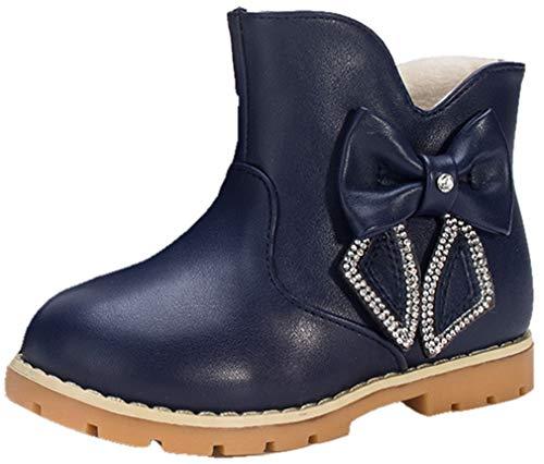 VECJUNIA Girl's Ankle Snow Boots with Bows Rhinestones (Blue, 10 M US Toddler) by VECJUNIA