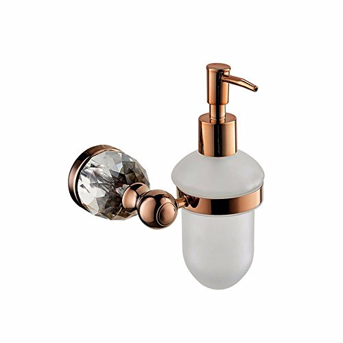 LAONA European-style rose gold crystal bathroom towel rack mount kit for coat hook Toilet brush holder paper towel rack Glass Single Double bar of soap. (Mount Glass European)