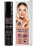 Beauty Facial Serum - Self Tanner For Face - Anti Aging Sunless Tanning Serum w/Hyaluronic Acid Organic Oils & Vitamin B5 - Non Comedogenic Fake Tan Facial Bronzer w/FREE BONUS eBook For Sunkissed Glow - 2.0 fl