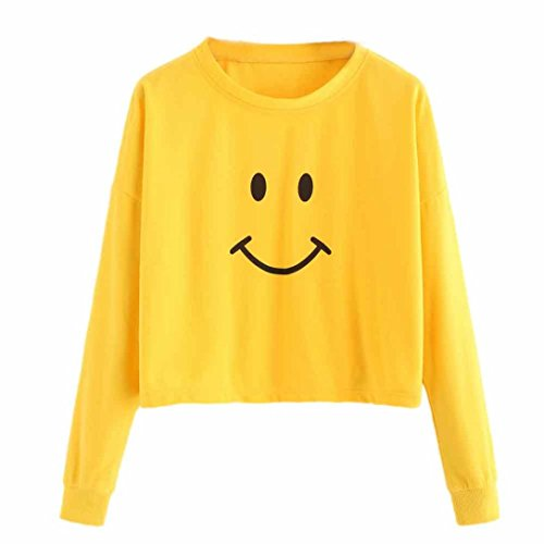 Sumen Teen Girls Smiling Face Print Blouse Bright Color Tops for Spring Women Simple Pullover Tops