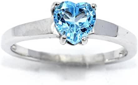 Simulated Blue Topaz Heart Ring .925 Sterling Silver Rhodium Finish